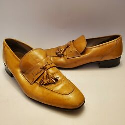 Vintage French Shriner 1960and039s Menand039s Gold Tassel Leathers Loafers Shoes 11 N