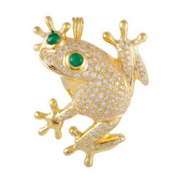 3.57ct Natural Round Diamond 14k Solid Yellow Gold Emerald Gemstone Frog Brooch