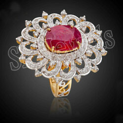 2.81ct Round Diamond 14k Yellow Gold Ruby Gemstone Cocktail Ring In Size 7 To 9