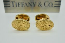 Vintage And Co. Gold Nugget Oval 18k Yellow Gold Cufflinks - Rare