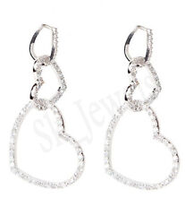 1.98ct Natural Round Diamond 14k Solid White Gold Hoops Earring Lever Back