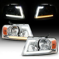 [led Sequential]drl+turn Signal Chrome Head Light Lamp Set For 2004-2008 F150