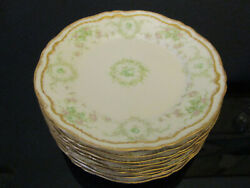 10 Antique Theodore Haviland Limoges Pink Green Roses Double Gold Salad Plates