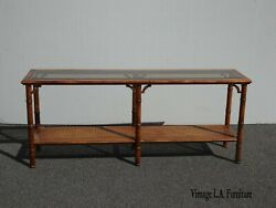 Vintage French Country Brown Cane Console Table Side Table Two Tier