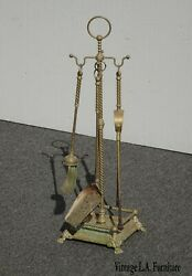 Vintage French Country Brass Fireplace Tools W Claw Feet
