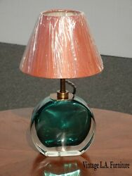 Pooky Lighting Limited Green Blown Glass Table Lamp W Copper Shade Asis