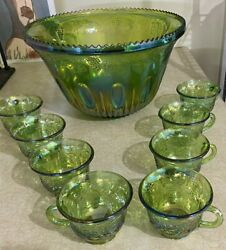 Indiana Princess Green Carnival Glass Punch Bowl Set Harvest Grape W/ 8 Cups