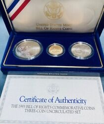 1993 Bill Of Rights 3 Coin Uncirculated Set 5 Gold 1 Silver And Silver Half