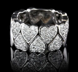 Christmas 2.30ct Natural Round Diamond 14k Solid White Gold Band Heart Ring