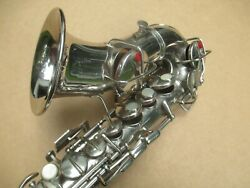 Conn Nickel Silver Plated Curvy Bb Soprano Saxophone Exceptional Nice Orgl Cond