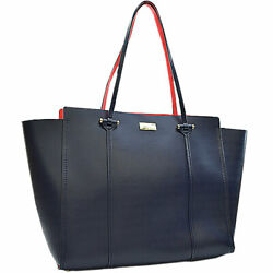 Kate Spade Shoulder Bag Navy Red Razor Tote Women 's Secondhand Classic _86697