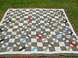 Antique/vintage Bow Tie Pieced Quilt For Repair/cutter/crafts Hand Quilted
