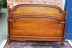 Antique French Cherry Wood Louis Xvi Full Size Bed And Nightstand