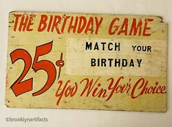 Antique Folk Art Wood Carnival Trade Or Advertising Sign - Birthday Match Game