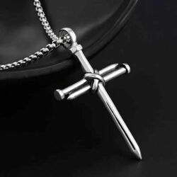 Mens Silver Christ Jesus Nail Rope Cross Pendant Necklace Stainless Steel Chain $11.99