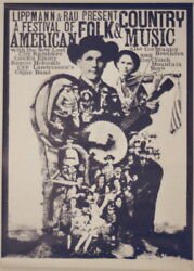 American Folk And Country Music Festival Concert Tour Poster 1968 Kieser