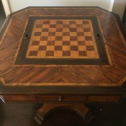 Theodore Alexander Ellery Games Table Mahogany Chess And Backgammon Vintage