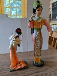 Vintage 2 Paper Mache Chinese Dolls On Wooden Stands