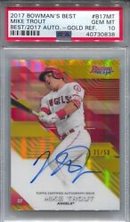 Mike Trout Psa 10 2017 Bowmanand039s Best Baseball Gold Refractor Auto /50 Pop 2