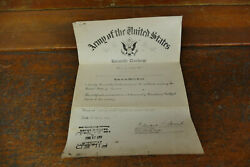 Ww2 1943 United States Army Honorable Discharge Paper 799th Military Police Copy