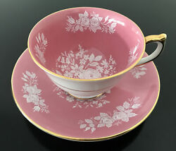 Vintage Aynsley Fine English Bone China Tea Cup Saucer Pink With White Roses