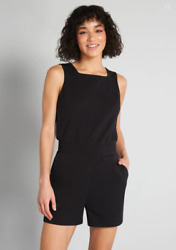 New With Tags Modcloth 2x Black Playdate Romper