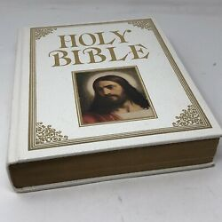 Vintage 1987 Large White Family Holy Bible King James Version Red Letter Edition
