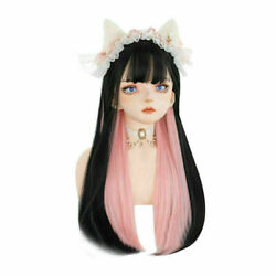 60CM Lolita Long Straight Black Mix Pink Bangs Heat Resistant Ombre Cosplay Wig