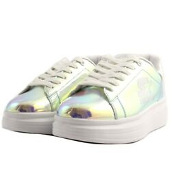 Shoes Sneakers Casual Starter Woman Leather Hologram Rainbow Rubber Upturn