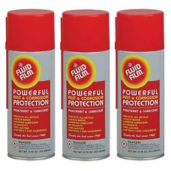 Fluid Film 3 Aerosol Cans Rust And Corrosion Protection Metal Surface Penetr...