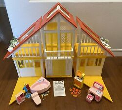Vintage 1978 Barbie Dream House Yellow A-frame With Furniture