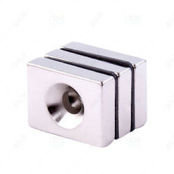 Rare Earth Rectangle Neodymium Block Magnets Super Strong With Hole 20mm150mm