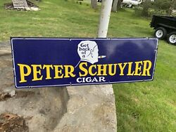 1940and039s Peter Schuyler Cigar Porcelain Sign....see My Neon Gas Soda Auto Signs