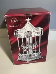 Wallace Silversmiths Music Box Carousel Silver Plated Plays Carousel Waltz