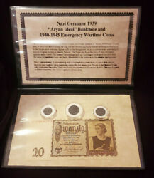 Nazi Germany 1939 Aryan Ideal Banknote And 1940-1945 Emergency Wartime Coins Set