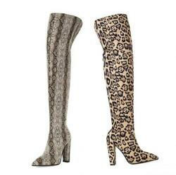 New Women Over The Knee Boots Pointy Toe Leopard Print High Heel Shoes 42 43 L