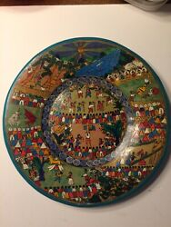 Vintage Bull Rodeo Mexican Fair Games Hand Painted Ceramic Plate Animals Unique