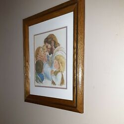 Christian Wall Art.home ,work Place Decor.jesus With Little Children.