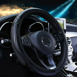 38cm Universal Leather Steering Wheel Cover For Auto Car Suv Van Solid Black X1