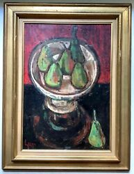 Original French Oil Painting Still Life Fruit Bowl Green Pears Mid 20th Century