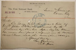 1893 Carson City Bullion And Exchange Bill Of Favor Note From First National Bank