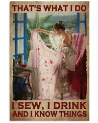I Sew I Drink And I Know Things Vertical Poster No Frame Wall Art Decor