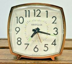 Vintage Westclox Alarm Clock Square White Dial Wind Up Clear Numbers Made In Usa