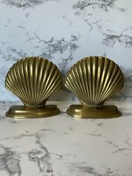 Brass Bookends, Mid Century Modern Vintage Clam Shell Design, A Pair.