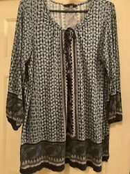 Olive Androse 1x Blue Casual Tunic Tassel Necktie Preowned Normal Wear Soft Knit