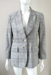 Grey Wool Blazer Jacket Of Wales Check Pattern Floral Embroidery 44
