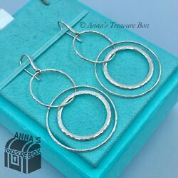 And Co. 925 Silver Picasso Hammered Circles Dangle Drop Earrings Pouch