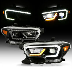 [led Tube]amber+white Drl Black Projector Headlights For 2016-2021 Tacoma Trd