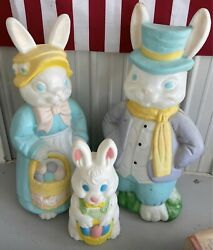 Empire 34 Large Mr And Mrs Easter Bunny Blow Mold Set Family Mom Dad Rabbit
