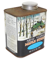 Vintage One Quart Tin New York Maple Syrup Can Winter Cabin Graphics